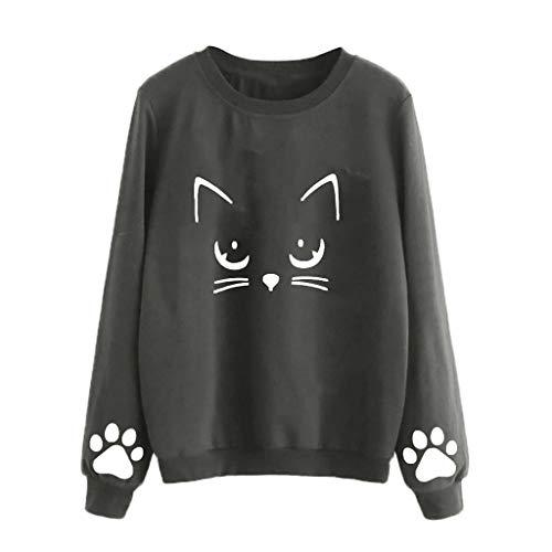 Eaylis Damen Tops Herbst und Winter Cat Weater Round Neck Langarm Regular Bluse Frauen Oberteile