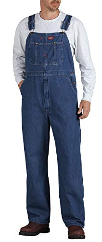 Dickies Men's Denim Bib Overall, Stone Washed Indigo Blue, 34 x 32