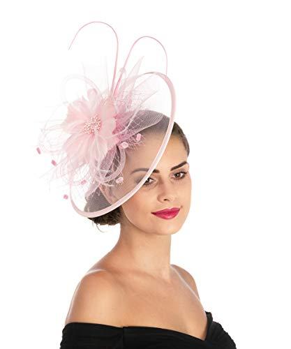 Lucky Leaf Fascinator Damen Mädchen, Haarspange/Clip, Hut mit Feder, für Cocktail, Hochzeit, Teeparty, Kirche usw Gr. 85, 1-8-pink