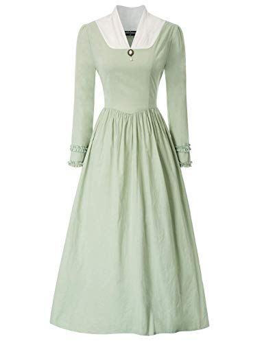 Women's Pioneer Costume Dress V Neck Long Sleeve Prairie Colonial Dress Green M