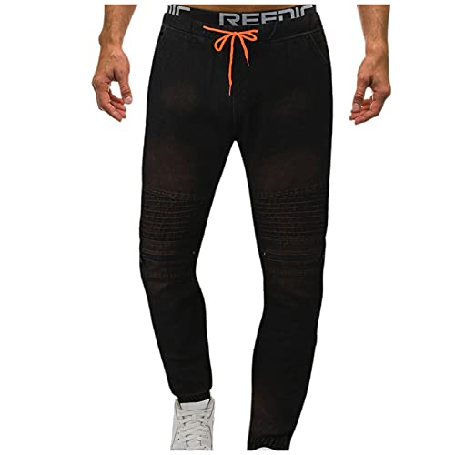 Yue668 - Pantalones vaqueros para hombre con cordón y bolsillo con cremallera para hombre, Negro , XL
