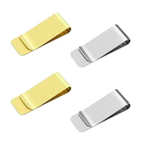 JUHONNZ Fermasoldi,4 PCS Uomo Fermasoldi in Acciaio Inossidabile Ferma Soldi da Uomo in Metallo Porta Carte di Credito per Uomo e Donna Slim 2 Oro e 2 Argento