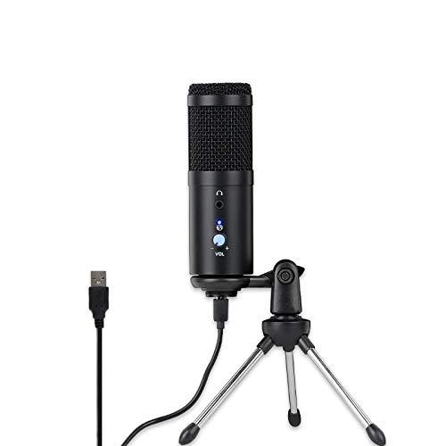 JISKGH MicróFono USB, MicróFono con Soporte MetáLico, GrabacióN Plug y, MicróFono de Condensador Cardioide para PC Ajustable para Juegos, Etc.
