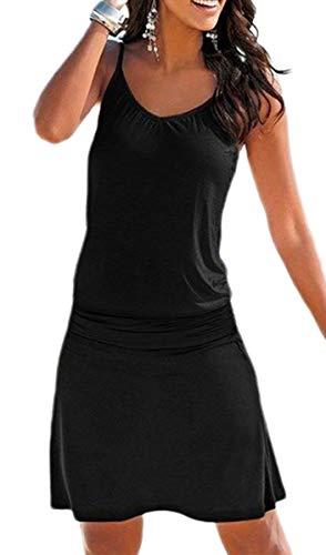 JFAN Vestido Largo para Mujer Sexy Vestido de Playa con Boho Falda de Playa Impreso O-Cuello Vestidos Mujer Casual Vestidos(Negro,M