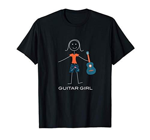 Guitarra de mujer divertida, regalos de guitarrista de niña Camiseta