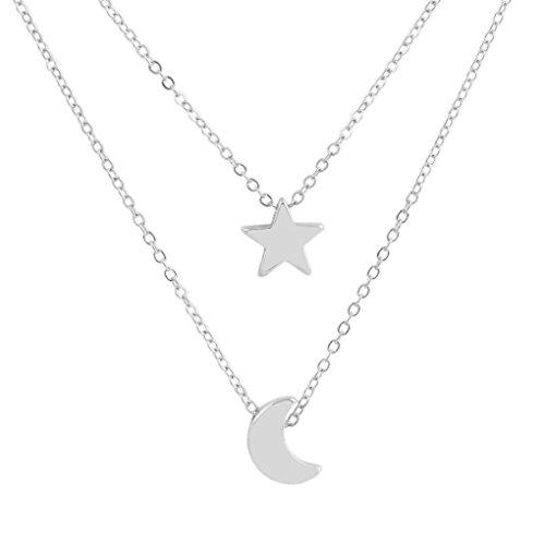 GOTTING Doble Capa mujeres collar geométrico Luna Star Girl regalo de la joyería del cuerpo colgante de cadena del cuello cuelgan ajustable plata