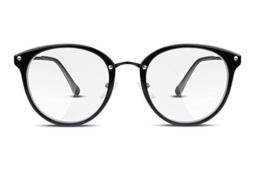 FEISEDY Vintage Rotondo Occhiali da Vista Lenti Trasparent Metallo Montature Composito per Non Graduate per Donna e Uomo B2260