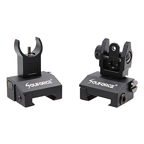 SOUFORCE Flip Up Iron Sights, Spring-Loaded Sights with Pop Up Button, Low Profile Front & Rear Backup Sights Fit for 20mm Picatinny & Weaver Rails