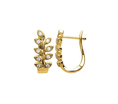 18K Gold Plated Hoop Earrings - Laurel Branch Design - Pave with Cubic Zirconia - Free Velvet Pouch