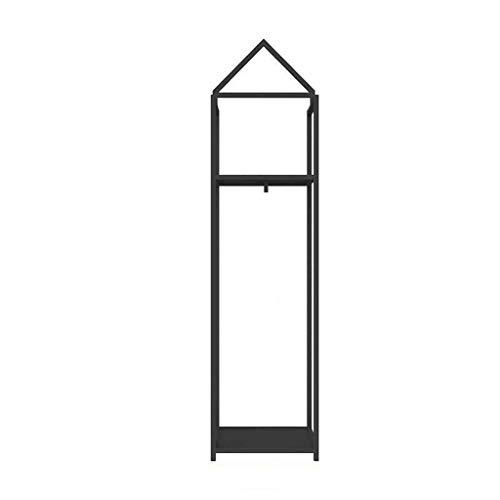 QFF Soporte de exhibición del Metal, la Creatividad for Suelo de Ropa Rack Boutiques Escaparate Perchas Pasillo de la Entrada Decoración Bastidores Coat Engánchate (Color : Black, Size : 190 * 50CM)
