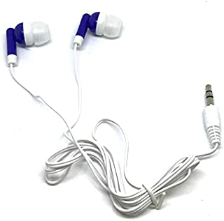 TFD Supplies Wholesale Bulk Earbuds Headphones 100 Pack for iPhone, Android, MP3 Player - Royal Blue