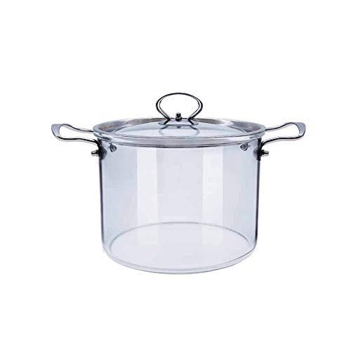 WZHZJ Olla de Vidrio Juego de Utensilios de Cocina de Vidrio con Mango Cacerola de Vidrio con Orificio de Vapor con Tapa para Cocina 5L