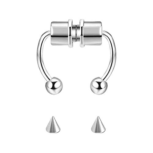 NEWITIN 1 Set Magnetic Septum Nose Ring Horseshoe Stainless Steel Fake Nose Ring Reusable Nose Ring Non-Piercing Magnetic Nose Ring for Men and Women, Clip on Nose Rings Silver