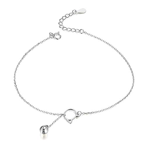 Bijoux Blu Bell and Cat Foot Jewelry Anklet Simple Bell and Cat Bracelet for Ankle Real Solid 925 Sterling Silver Anklets for Women