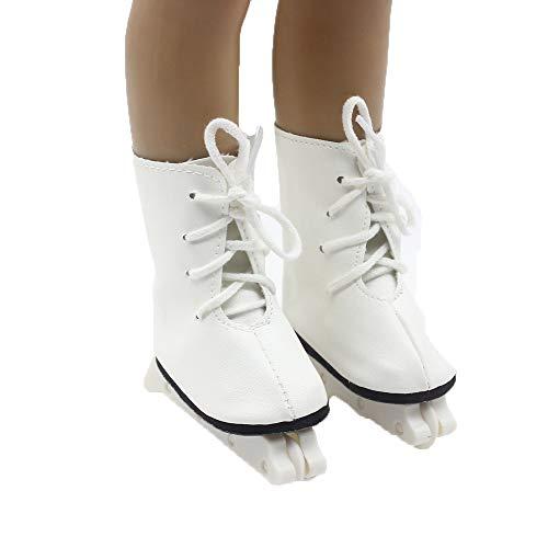 Puppe Mädchen Spielzeug Skate 18inch amerikanische Puppe Schlittschuhe (ohne Puppen) Weiß, Malloom Glitter Doll Roller Skates für 18 Zoll Unsere Generation for...