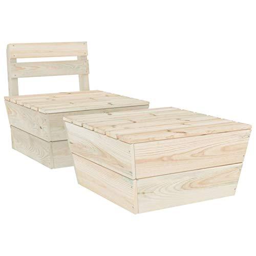 Tidyard Conjunto de sofás Juego de Muebles de jardín 2 Piezas Madera de Abeto impregnada