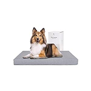 PETLIBRO Dog Bed for Crate, Memory Foam Dog Crate Bed Orthopedic Plush Mattress for Therapeutic Joint&Muscle Relief Washable Bed Cover with Waterproof Inner Lining