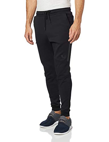 Amazon Brand - Peak Velocity Men's Metro Fleece 'Build Your Own' Jogger Sweatpants (S-3XL, Loose, Athletic, Fitted), black, Small