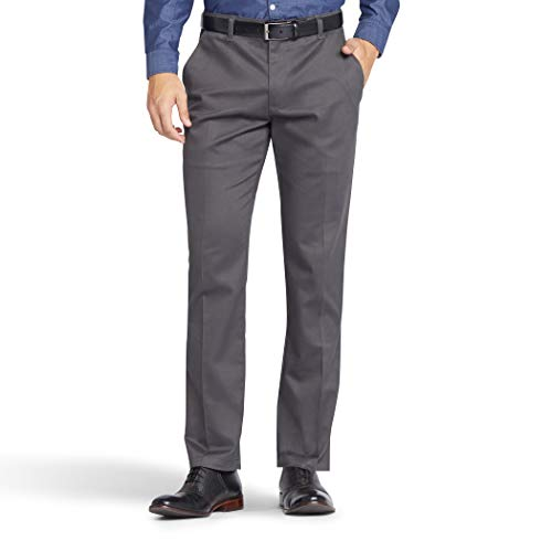 Lee Men's Total Freedom Stretch Slim Fit Flat Front Pant, Charcoal, 32W x 30L