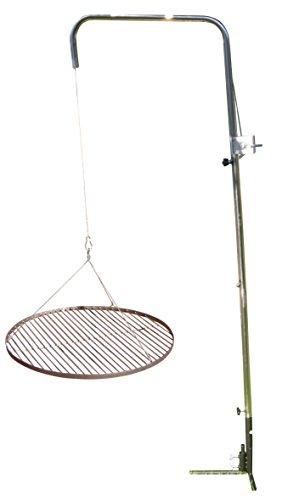 Grillclub Edelstahlrohr Grillgalgen + 80 cm Edelstahl Grillrost nur 14 mm Lichter Stababstand Gartengrill Grill Schwenker