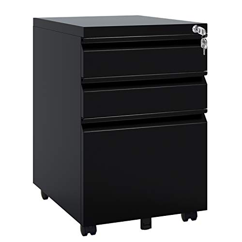 DEVAISE 3 Drawer Mobile File Cabinet with Lock, Under Desk Metal Filing Cabinet for Legal/Letter/A4 File, Fully Assembled Except Wheels, Black