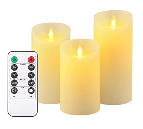 SJHP Velas Sin Fuego Velas LED con Llama móvil con 10 Key Mando a Distancia Funciona con Pilas Fácil Operación Hecha de parafina Real para Bodas Cumpleaños Fiestas Navidad Halloween