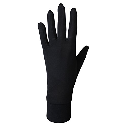 Jasmine Silk Guantes de Seda puras térmicas Guantes del Ciclo Liner Guante Interior Ski Bike Negro (Size: Large 9.5-10.5 (from The Longest Finger Tips to The Wrist))
