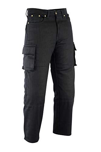 Texpeed - Herren Motorrad-Cargohose mit 6 Taschen & CE-Protektoren - Jeans & Kevlar - Schwarz - W46 L30
