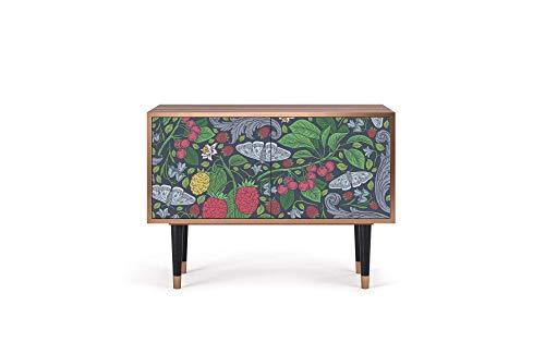 Furny - S1 - aparador, diseños Impresos UV, Estilo jardín inglés, 2 Puertas con Empuje para Abrir y Estante Interior, 94W x 48D x 69H - Summer Berries