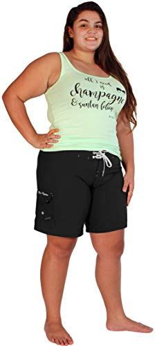 Maui Mermaids Womens Plus Size Bathing Suit Swim Shorts Board Shorts (5X, Black)