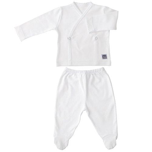 Conjunto para Bebé - Camiseta Cruzada y Polaina con Pie - Blanco - 100% Algodón - Talla 1/3 Meses - Modelo Plain Minutus