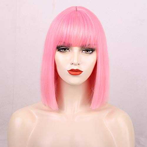 ENTRANCED STYLES Pink Wig with Flat Bangs Short Bob Wig for Women Synthetic Straight Heat Resistant Colorful Wigs for Daily Use Halloween Cosplay Party