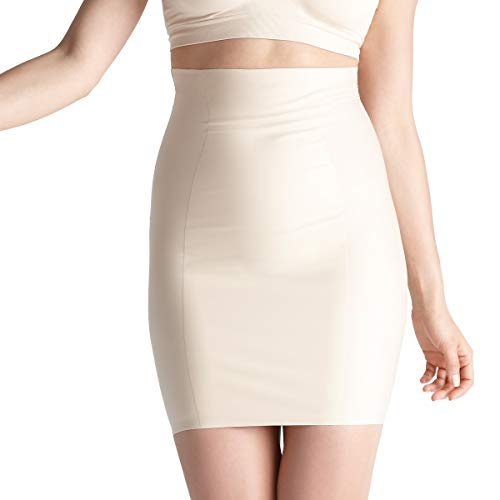 Yummie Women's Hidden Curve High Waist Firm Control Shapewear Skirt Slip, Frappe, Large
