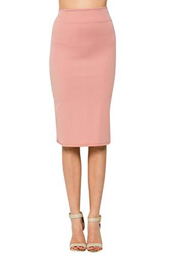 Junky Closet Women's Comfort Stretch Pencil Midi Skirt (M, 2936CLAF_Dusty Pink)