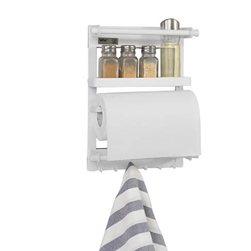 SoBuy® FRG247-K-W Regal für Kühlschrank mit Magnetleiste, magnetisches Küchenreagl, Hängeregal weiß, BHT ca: 26x34x8cm