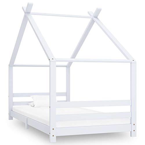 vidaXL Madera Maciza de Pino Estructura de Cama Infantil para Niños Pequeños Forma de Casita Casa Dormitorio Robusta Duradera Blanco 90x200 cm