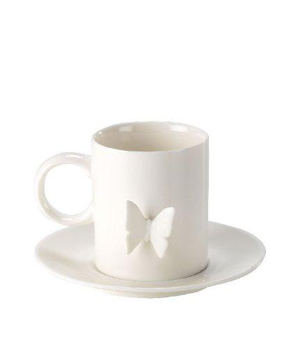 Mug avec soucoupe papillon en relief 3D – Porcelaine blanche