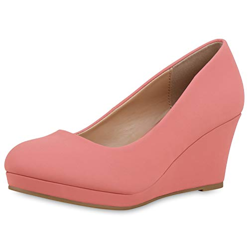 SCARPE VITA Damen Pumps Keilpumps Klassische Keilabsatz Schuhe Leder-Optik Wedges Basic Absatzschuhe 183852 Coral 39