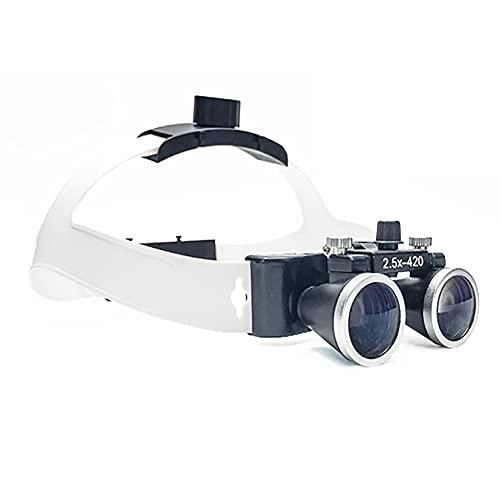 LBYDXD Médico Quirúrgico Dental Gafas Lupas Binoculares, Lupa Binocular de Lupa Dental 2.5X lupas quirúrgicas, Distancia de Trabajo 320MM-420MM, Head Mounted Magnifier