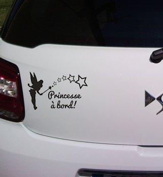 Sticker noir bébé à bord princesse à bord !