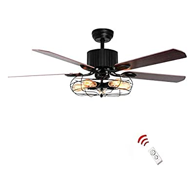 Retro Industrial Ceiling Fan with Light 5 Wood Reversible Blade Vintage Reversible Ceiling Fan 3 Speed Vintage Cage Chandelier Fan with Remote Control for Restaurant Bedroom Living Room 52 Inch