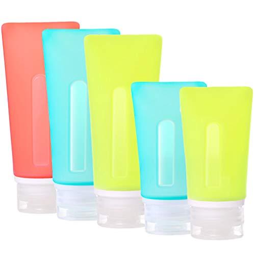 JasCherry Reutilizables Botella Portátil de Viaje de Silicona - Contenedor para Champú, Acondicionador, Crema de Baño, Loción(80ml, 3 Pzs)