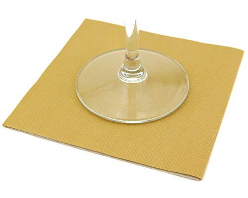 finemark 50 Stück Mini Servietten Gold 25 x 25 cm stoffähnlich Cocktailservietten Bar Sektempfang Hochzeit Party Cocktail Glasuntersetzer