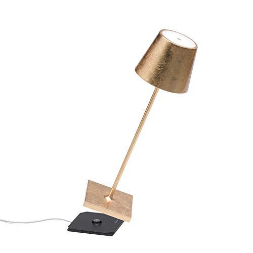 Zafferano Poldina Pro-dimbare led-tafellamp van aluminium, beschermingsklasse IP54, geschikt voor binnen en buiten, contactlaadstation, H38cm, EU-stekker (bladgoud)