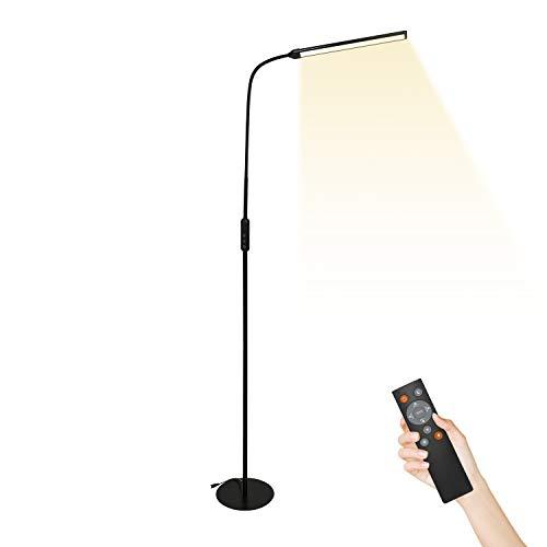 Hengda 12W Stehlampe mit Flexibler Schwanenhals und Fernbedienung, LED Dimmbar Augenschonende Stehleuchte Leselampe 3 Farbtemperaturen 4 Helligkeitsstufen für Wohnzimmer Schlafzimmer Büro