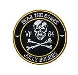 VFA-103 Jolly Rogers Fear The Bones Squadron Stickerei-Flicken, Militär, taktische Kleidung, Zubehör, Rucksack, Armband, Aufkleber, Geschenk, dekorativer Aufnäher, bestickter Aufnäher