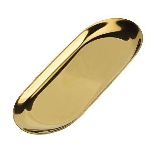 Agoky Edelstahl Oval Tablett Platte Schmucktablett Serviertabletts Schmuckdose Aufbewahrung Tablett Lagerung Pallet Organizer für Tisch Büro Beauty Salon Gold OneSize