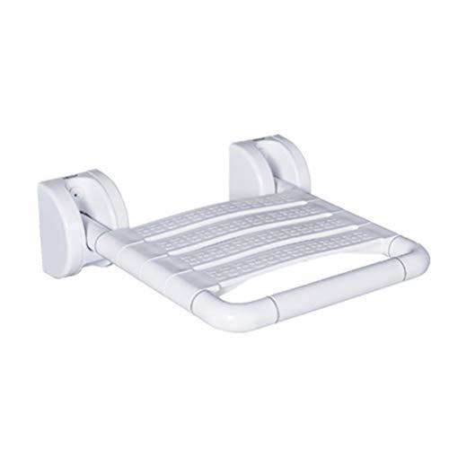 YC Klappbarer Duschsitz Badezimmer Drop-Leaf Wandhocker, Stuhl Faltbare Badezimmerbank Mobilitätshilfe Hocker für den Saunaraum zu Hause,Weiß