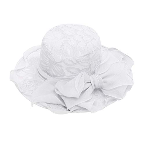 FarJing Womens Church Wide Brim Tea Party Wedding Hat Fancy Derby Fascinator Cap Sun Protection Visor(White