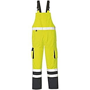 """4Protect 3486-XXXL Size 3X-Large High Visibility""""Chicago"""" Dungarees - Yellow/Navy Blue"""